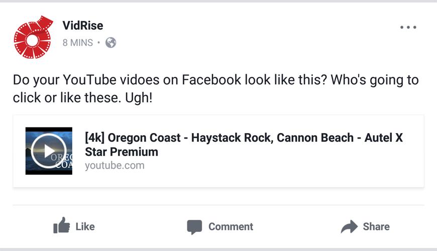 VidRise for Brandable YouTube Thumbnails on Facebook
